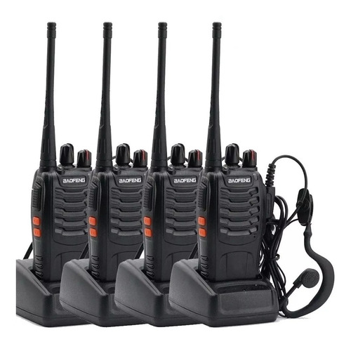 Kit X 4 Handy Baofeng Radio Walkie Talkie Bf888s 16ch Uhf + Auricular Manos Libres