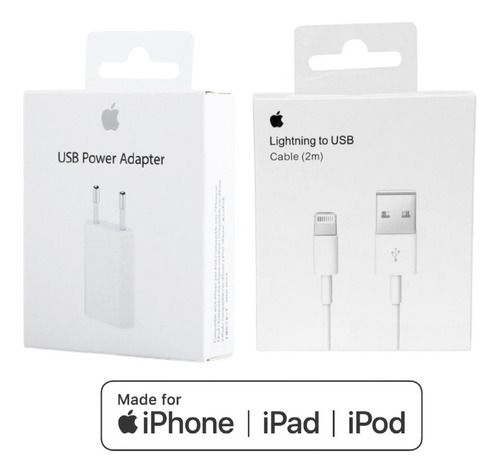 Cargador Apple Original iPhone + Cable Usb 2 M