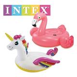 Set Unicornio, Flamingo Salvavidas Montable Xl Alberca Intex