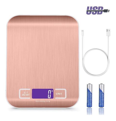Báscula Digital Recargable Por Usb Para Cocina 10kg/1g