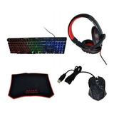 Kit De Gamer Juego Combo Teclado + Mouse + Audifonos + Pad