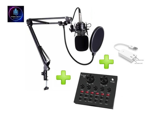 Microfono Con Brazo Estudio Condensador Y Consola De Sonido