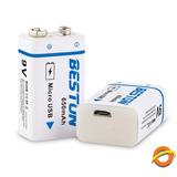 Bateria 9v Recargable 650mah Micro Usb Beston Larga Duracion