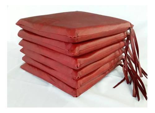 Almohadones Para Sillas X 6u Ecocuero 40x40-4cm De Alto