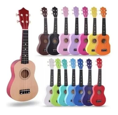 Ukelele Soprano De Madera + Funda + Cuerda + Pua + Colores