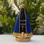 Nossa Senhora Aparecida 20cm Perola Azul Centro Preto Gesso Original