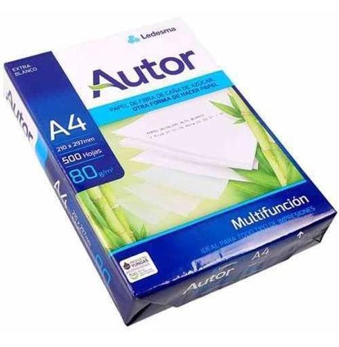 Resma Autor A4 Papel 80 Gramos 500 Hojas Para Inkjet Oficina
