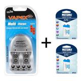 Cargador Vapex Vte-200 + 2 X Bateria Motoma 9v 220mah