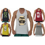 Kit 5 Regatas Cavada Masculina Camiseta Slim Tank Anatomic Original