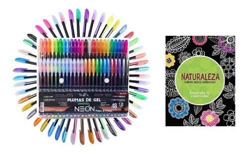 Plumas De Gel 48 Colores  Indra Neon 1.0 Mm + Libro Regalo