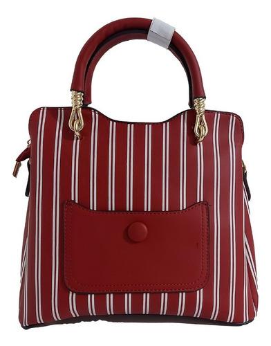 Bonita Bolsa De Mano Para Dama En Rojo Con Franjas Blancas