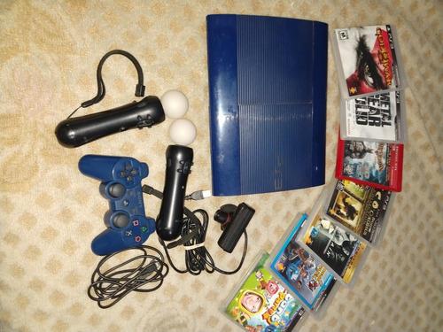 Playstation 3 Super Slim-250gb-2 Moves-camara-juegos
