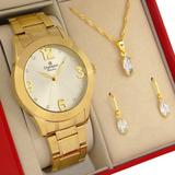Relógio Champion Feminino Dourado Ouro 18k Com 1 Ano De Garantia Prova D'água E Nota Fiscal