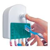 Dispensador Dosificador De Crema Dental + 5 Porta Cepillos