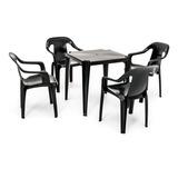 Conjunto Mesa E 4 Cadeiras De Plástico Poltronas - Preto