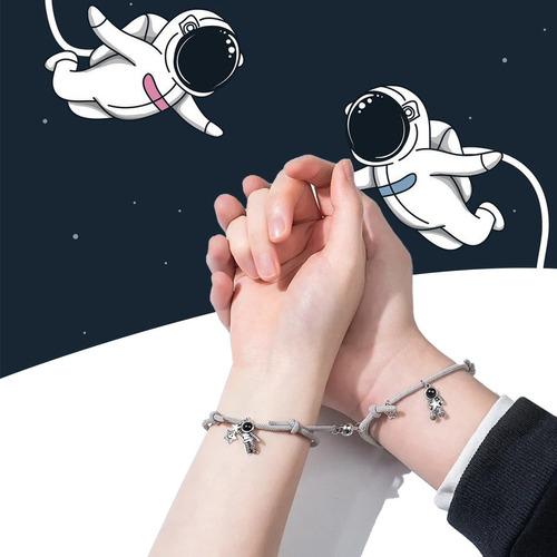 Set De Pulsera Pareja Iman Astronauta,regalo Amor Eterno