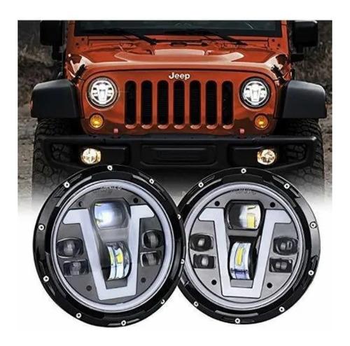 Movotor Jeep Wrangler Faros Halo 7 Pulgadas Led Con Luces Jeep Wrangler