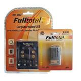 Combo Bateria Recargable 9v 200mah + Cargador De Pilas