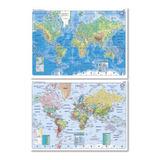Mapa Mural Laminado Plastificado Planisferio Bifaz 90x130cm