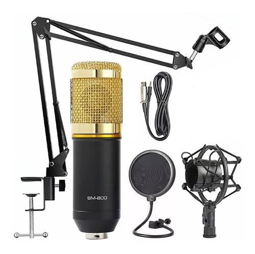 Microfono Condenser Stream Youtube Stream Estudio Brazo Oro