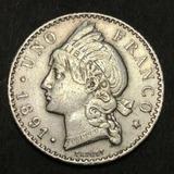 Moneda De 1 Franco Dominicano 1891, Plata, Vf