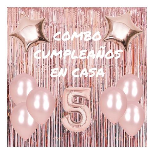Combo Cumple Rosa Gold Cortina Globos Perlados Y Metalizados