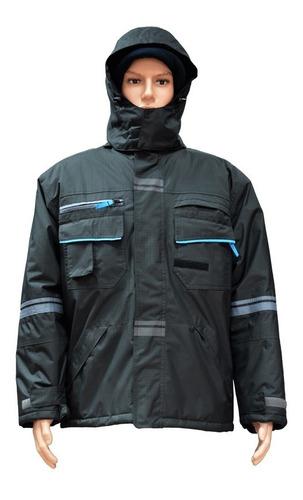 Campera De Abrigo En Poliéster Y Pvc Negra, Marca Glaciar