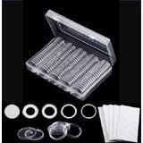 Caja Plástica 100 Capsulas Tamaño Ajustable Para Moneda 30mm