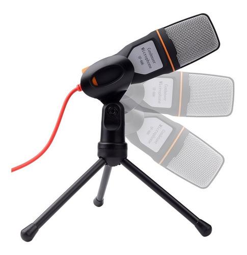 Micrófono Condensador Con Tripode Cable 2mts Skype Blanco