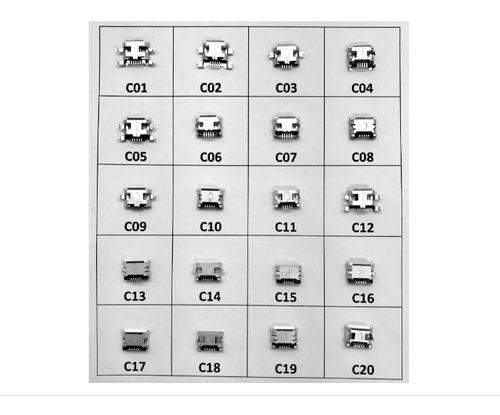 Conector Micro Usb Tablet Celular Kit 20 Modelos Diferentes
