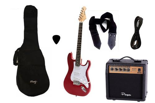 Combo Guitarra Electrica Parquer Roja Amplificador 10w Funda