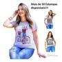 Tshirt Blusinha Feminina Larguinha Com Pedraria - Aplicações Original