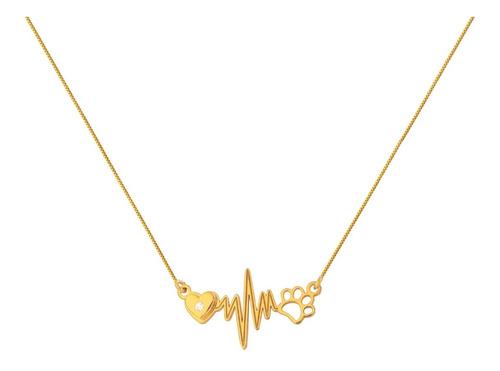 Corrente Gargantilha Em Ouro 18k Coração Com Patinha