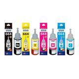 Pack 4 Botellas De Tinta Para Impresora Epson T664 De 70ml
