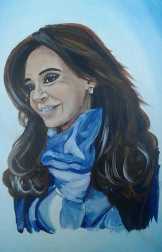 Cuadro Cristina  Kirchner Cfk Pintado A Mano 20 X 30 Cm
