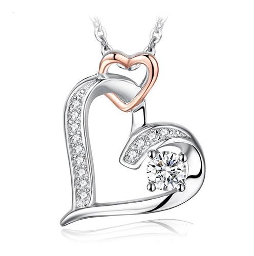 Collar Pendiente Elegante Mujer Plata Fina 925 Amor Corazon