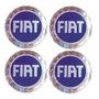 Jogo Emblema Fiat Azul Alumínio Reto P/ Calotinha Roda 55mm Original