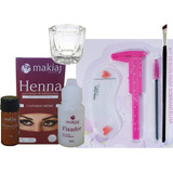 Makiaj Henna Sobrancelha +molde+paq+escovinha+pincel +dappen