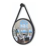 Espelho Redondo Decorativo Suspenso Com Alça 60cm + Suporte