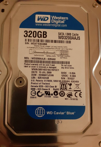 Disco Rigido Sata 320 Gb Wd