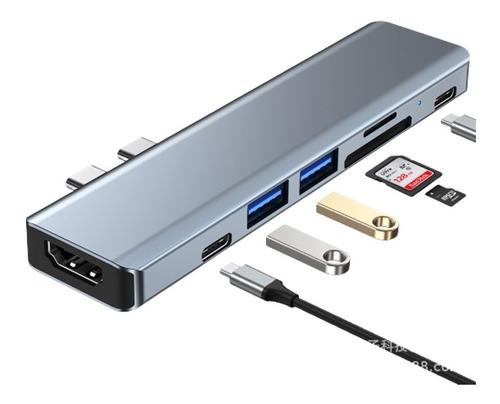 Hub Adaptador Usb-c 7 En 1 Hdmi Tf/sd Usb 3.0 Pd Macbook Pro