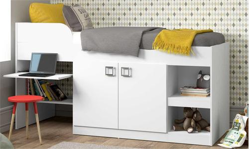 Cama Infantil Com Escrivaninha Multimóveis Branco Premium
