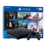 Sony Playstation 4 Slim 1tb Mega Pack: The Last Of Us Remastered/god Of War/horizon Zero Dawn Complete Edition Cor  Jet Black