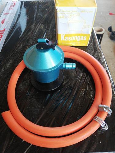 Regulador O Válvula De Gas + Manguera + Abrazaderas Metálica