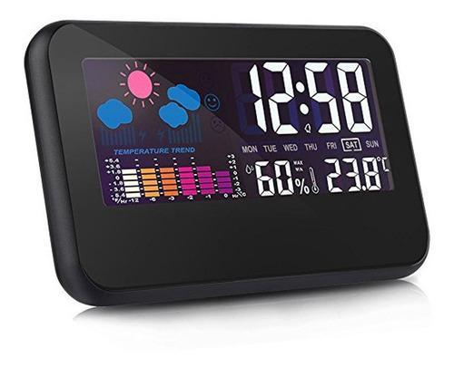 Despertador Digital Con Temperatura Humedad Grande Pantalla