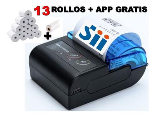 Impresora Boleta Sii + Aplicacion Gratis Y 13 Rollos 58 Mm