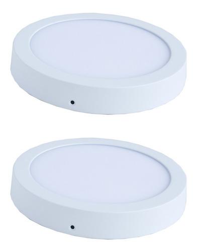 Pack 2 Foco Led Circular / Panel 18 W / Sobrepuesto / Hb Led