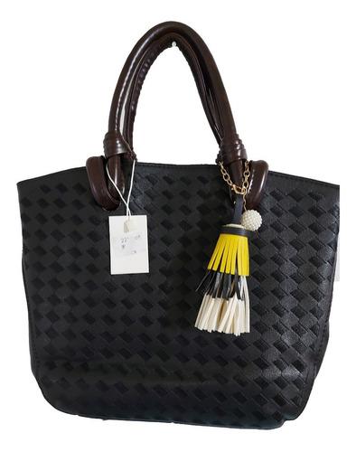 Hermosa Bolsa De Mano Para Mujer En Color Negro, Tacto Piel