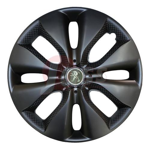 4 Tazas Vw Gol Renault Chevrolet Fiat Rodado 15 Negra Mate E