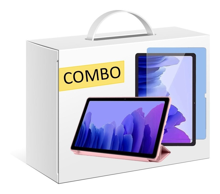 COMBO FUNDA SMART TPU PARA SAMSUNG TAB A7 T500 ROSA + VIDRIO